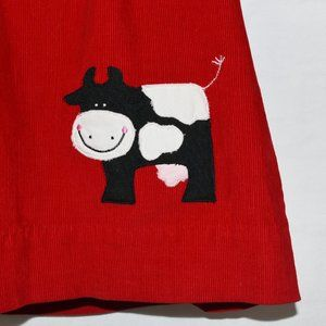 Dresses - Red Dress in Corduroy with Cow Applique !
